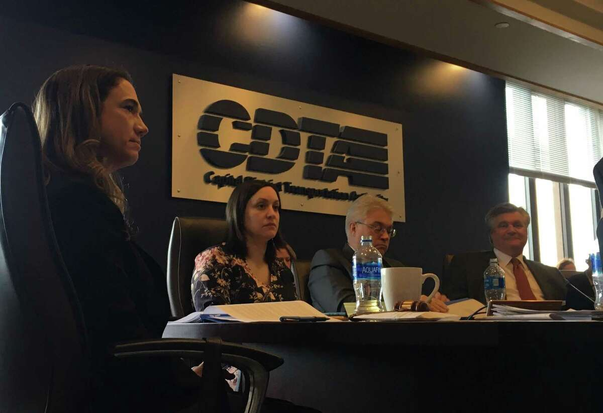 Georgeanna Nugent, CDTA board of directors chairwoman, listens during the board of directors meeting on Wednesday afternoon at the CDTA office on110 Watervliet.