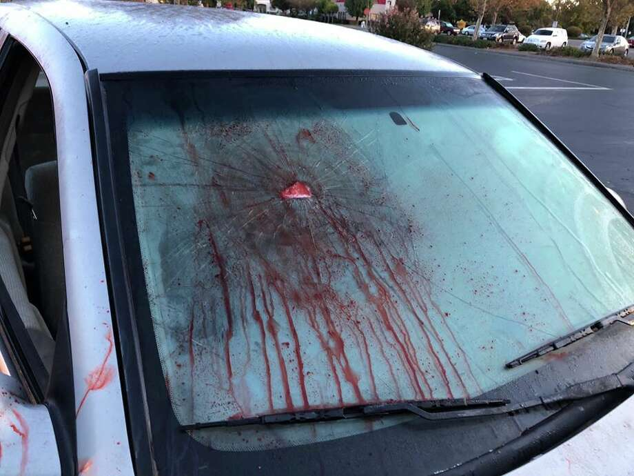 Dixon police were not amused by a Halloween prank involving a bloodied car left in a Safeway parking lot. Photo: Dixon Police