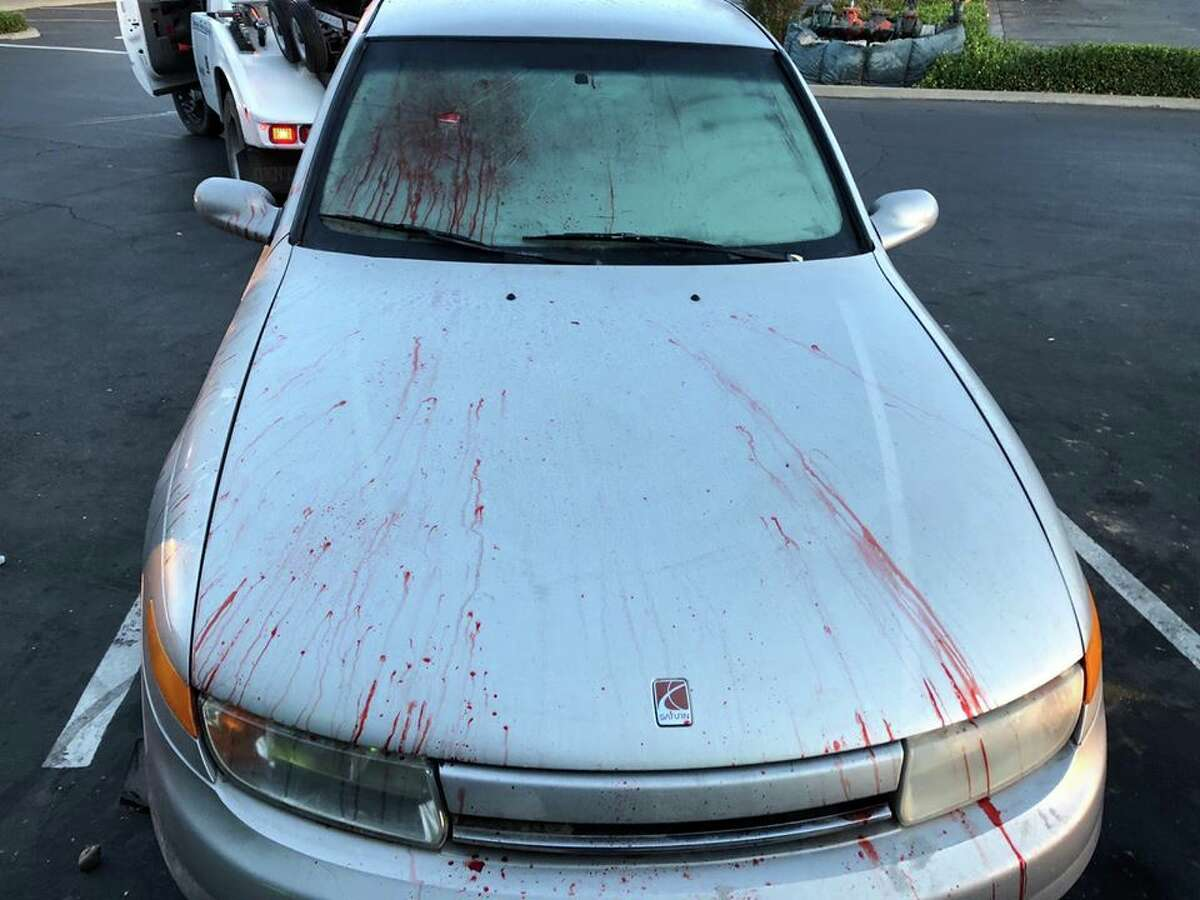 Dixon police were not amused by a Halloween prank involving a bloodied car left in a Safeway parking lot.