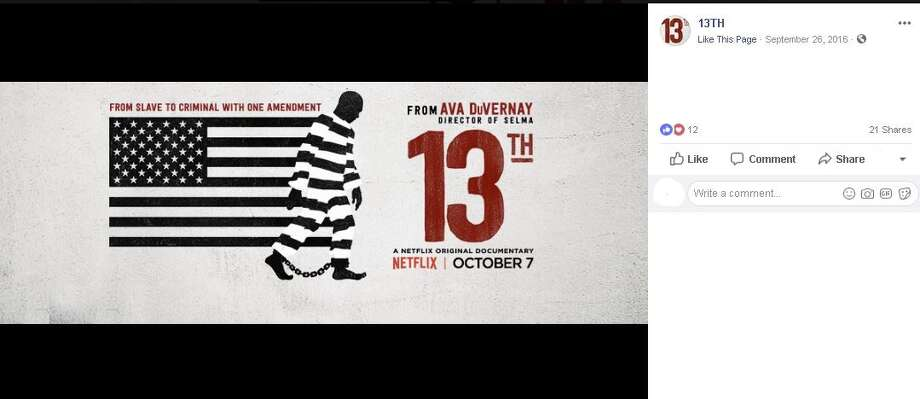"In Texas, ""13th"" is the most watched documentary on Netflix. Photo: 13th Facebook"