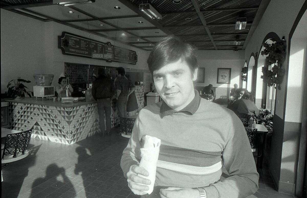 Jan. 20, 1977: Heriberto Penaranda, owner of Nito Burrito in San Francisco, poses with one of his creations.