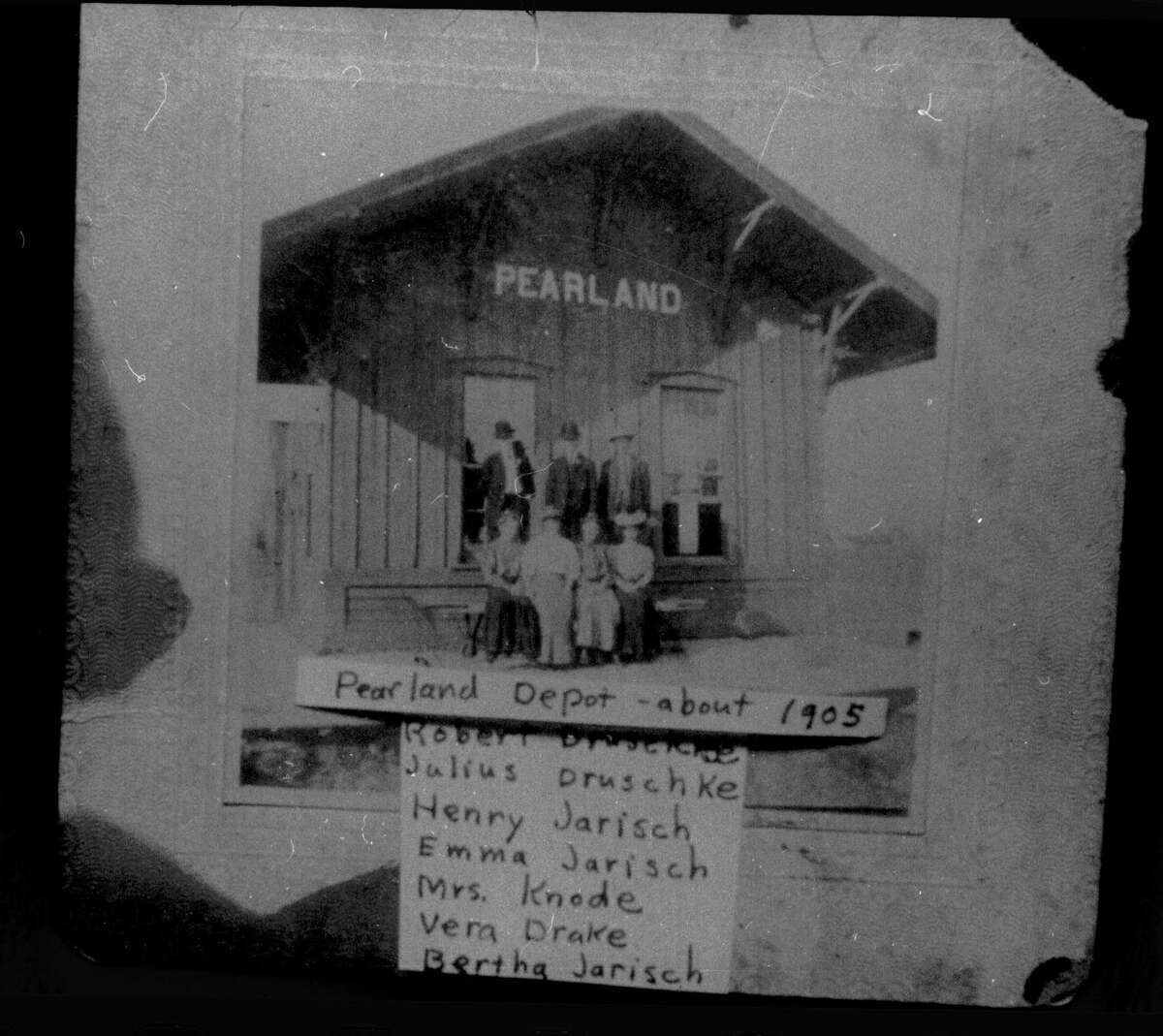 Plans to renovate the Pearland Train Depot, shown in this photos from 1905, have been halted by the coronavirus pandemic. The building - the oldest existing one in Pearland - stood beside the railroad tracks by Texas 35 for decades and now is on Liberty Drive near City Hall.