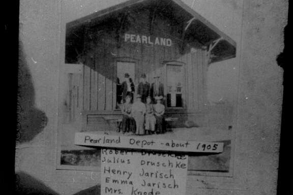 Plans to renovate the Pearland Train Depot, shown in this photos from 1905, have been halted by the coronavirus pandemic. The building — the oldest existing one in Pearland — stood beside the railroad tracks by Texas 35 for decades and now is on Liberty Drive near City Hall.