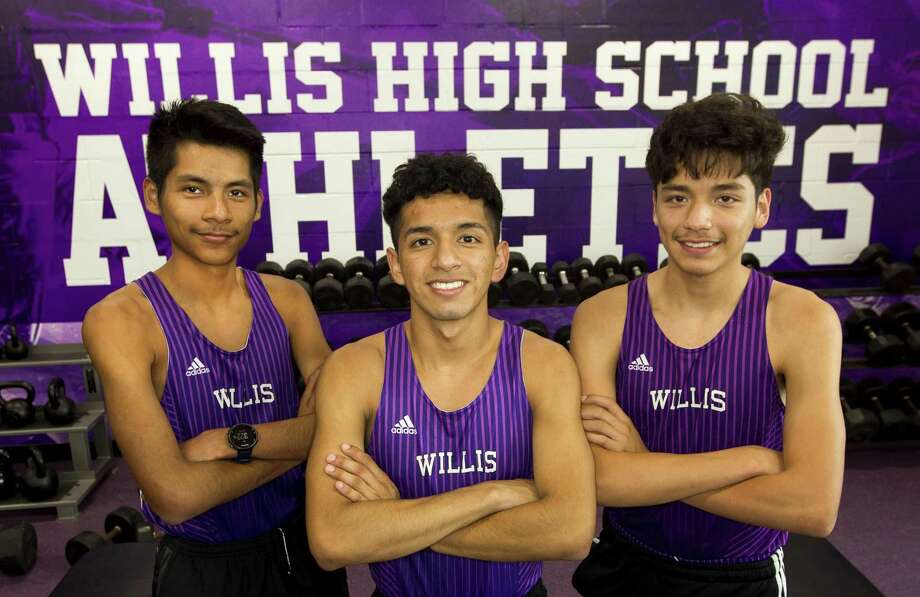 Willis cross country runners Carlos Barcenas, Jaime Vega and Efrain Lira pose for a portrait at Willis High School, Tuesday, Oct. 30, 2018, in Willis. Barcenas , Lira and Vega are cousins and have combined for 10 state qualifying appearances in the UIL State Cross Country Championships. Photo: Jason Fochtman, Houston Chronicle / Staff Photographer / © 2018 Houston Chronicle