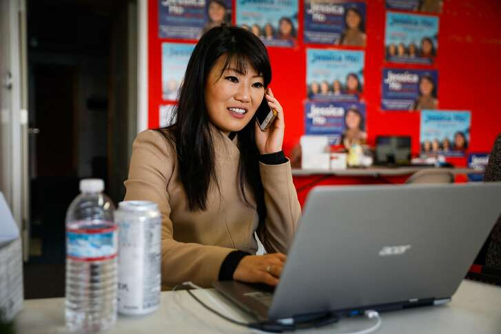 Jessica Ho who is running for District 4 Supervisor makes calls to donors at her campaign headquarters in San Francisco, California, on Wednesday, Oct. 31, 2018.