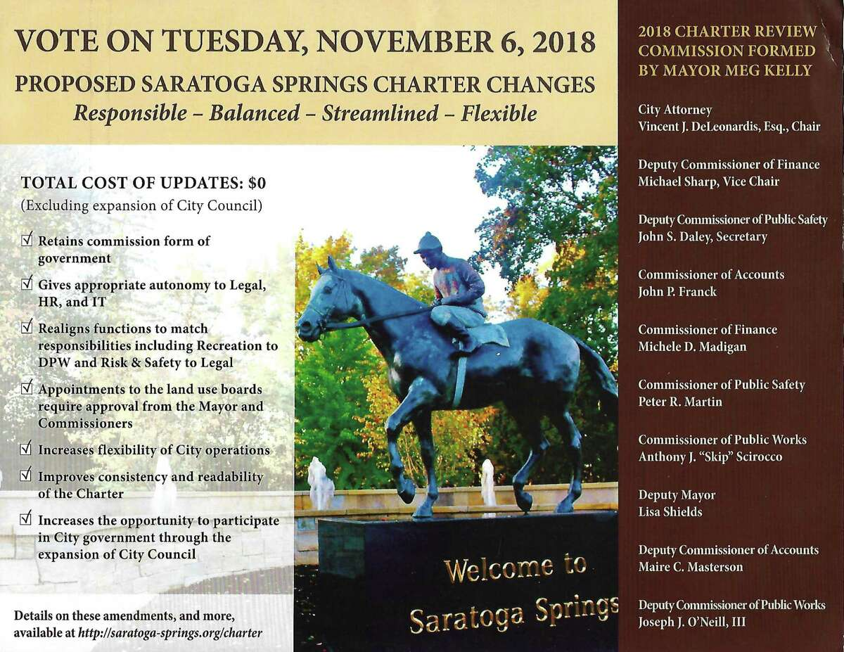 Some folks in Saratoga are calling their elected officials hypocrites for saying that last year's charter review commission promoted the charter change referendum while they themselves promote this year's charter update referendum. It is being promoted in a glossy tax payer flyer.
