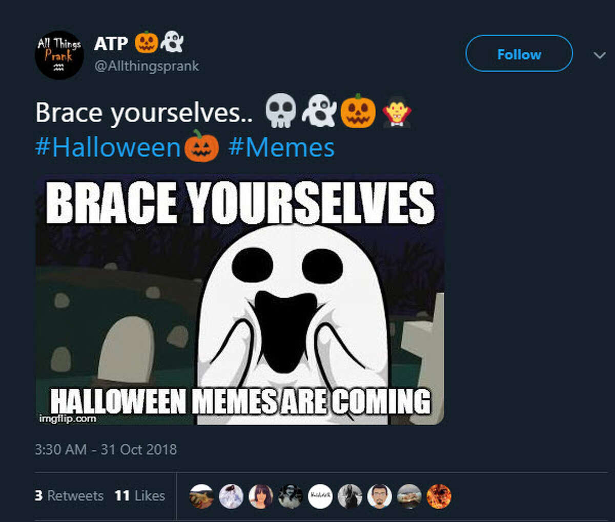 Spooky Memes The ghost said it all. It's Oct. 31, and while that brings the ghosts and ghouls out from hiding, it also brings out a special kind of meme culture. The spoopy meme. Enjoy the internet's finest and click through for more.
