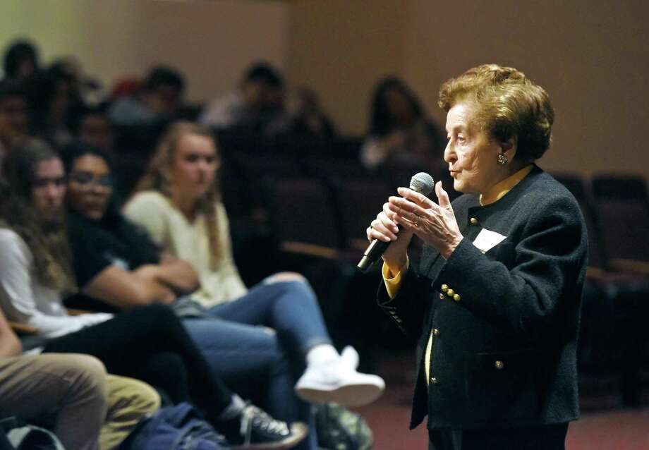 """Holocaust survivor Judith Altmann shares her story at Greenwich High School in Greenwich, Conn. Tuesday, Feb. 28, 2017. Speaking as part of GHS's Diversity Week, Altmann spoke about her time in Auschwitz, losing her family and surviving the """"death march"""" to Bergen Belsen concentration camp. Photo: Tyler Sizemore / Hearst Connecticut Media / Greenwich Time"""