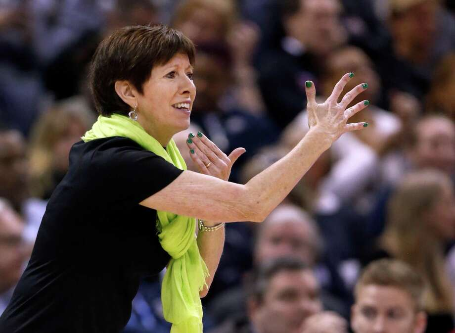Notre Dame coach Muffet McGraw on the sidelines during the women's NCAA Tournament final against Mississippi State on April 1. Photo: Ron Schwane / Associated Press / FR78273 AP