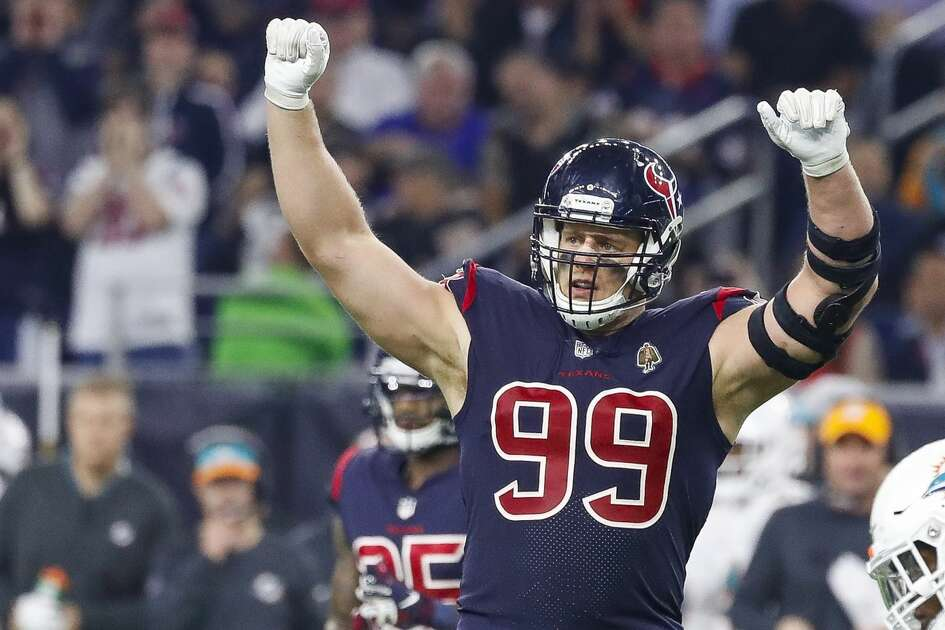 Houston Texans defensive end J.J. Watt (99) reacts during the second quarter of an NFL game at NRG Stadium, Thursday, Oct. 25, 2018, in Houston.