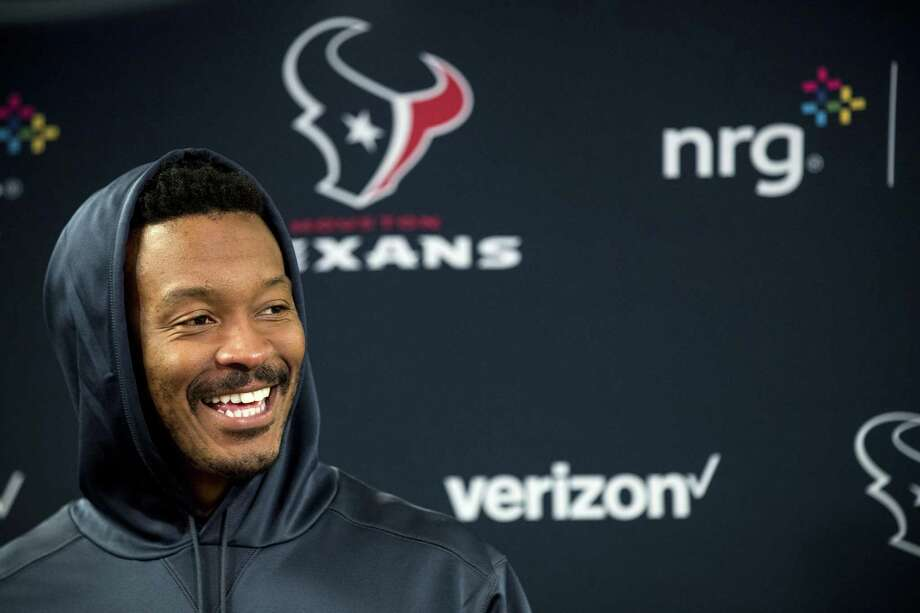 Houston Texans wide receiver Demaryius Thomas speaks to the media during a news conference at NRG Stadium in Houston, Wednesday, Oct. 31, 2018. Demaryius Thomas' trade from the Denver Broncos to the Houston Texans wasn't so much a good-bye as a see-you-later. As in Sunday, when the Texans (5-3) visit the Broncos (3-5). Photo: Brett Coomer, MBO / Associated Press / © 2018 Houston Chronicle