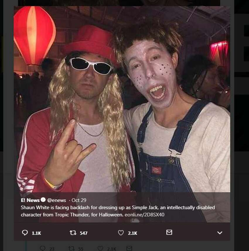 Shawn White offended with his Halloween portrayal of Simple Jack an intellectually disabled character from Tropic Thunder.