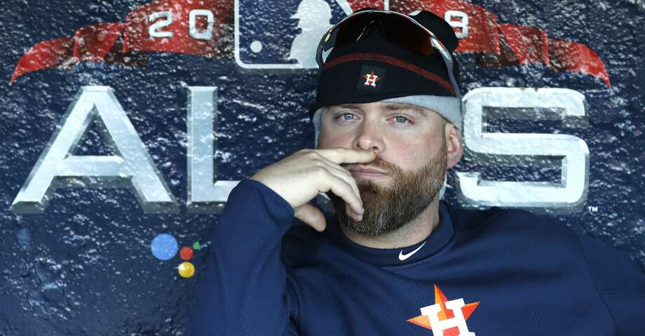 Houston Astros catcher Brian McCann sits in the dugout waiting to take the field for the Astros workout out at Fenway Park, Friday, October 12, 2018, in Boston, in preparation for Game 1 of the ALCS against the Boston Red Sox. Photo: Karen Warren/Staff Photographer