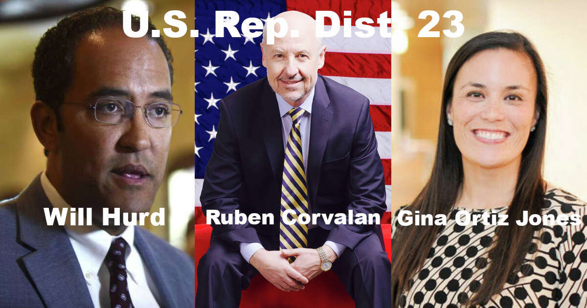 U. S. Representative District 23 Republican nominee: Will Hurd Libertarian nominee: Ruben Corvalan Democratic nominee: Gina Ortiz Jones Some have described District 23 as San Antonio's only congressional swing district. Hurd, the incumbent, has showed a promising lead in recent polls, but Jones has showed no signs of easing up.