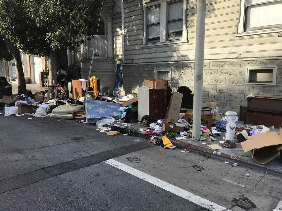 SF Public Affairs posted a photo of one illegal dumping site in the Mission on Oct. 29, 2018. Click on the slideshow ahead to see SF streets with the most illegal dumping service orders to Recology from Oct. 2017 to Sept. 2018.  Photo: SF Public Works