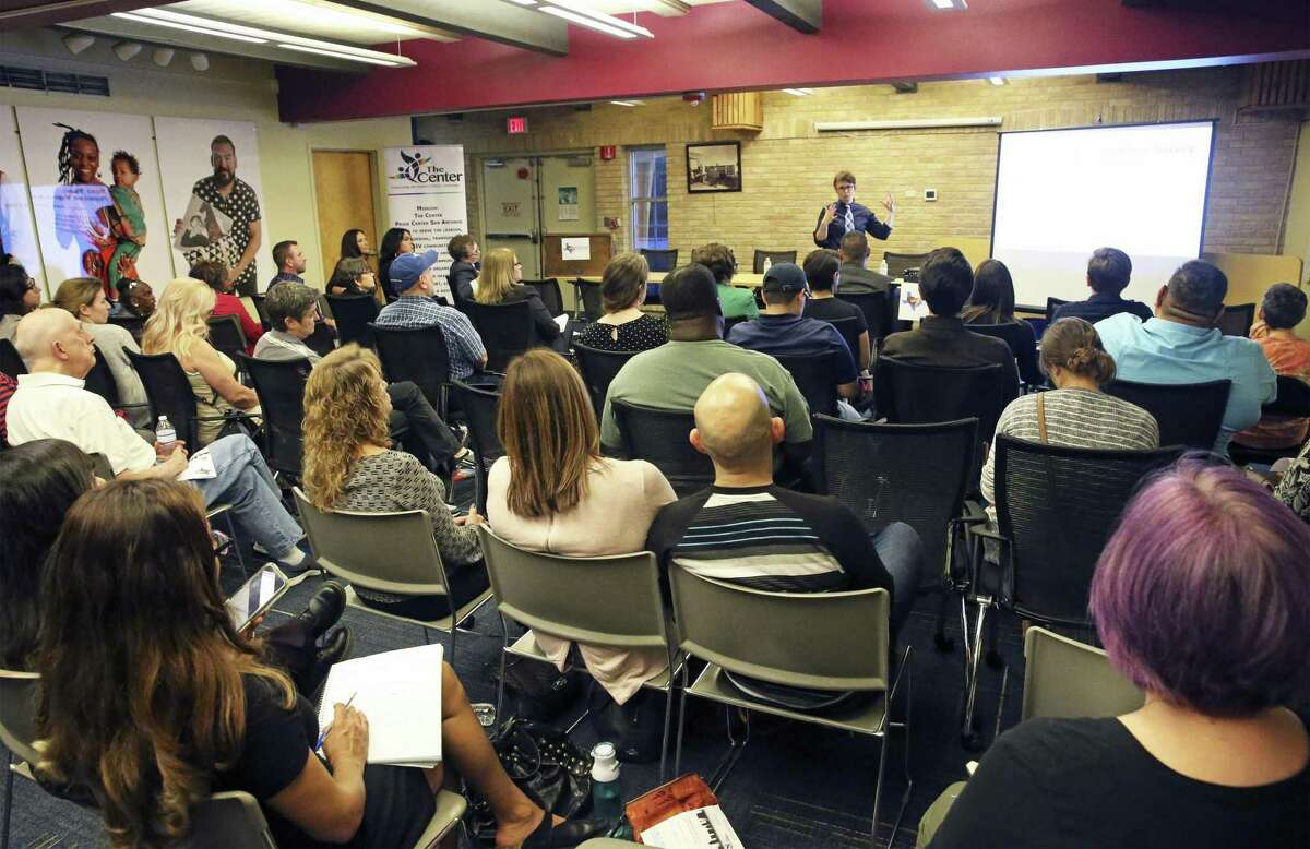 The results of an initial survey of the LGBTQ community in San Antonio were presented Oct. 30, 2018, at the Carver Library.