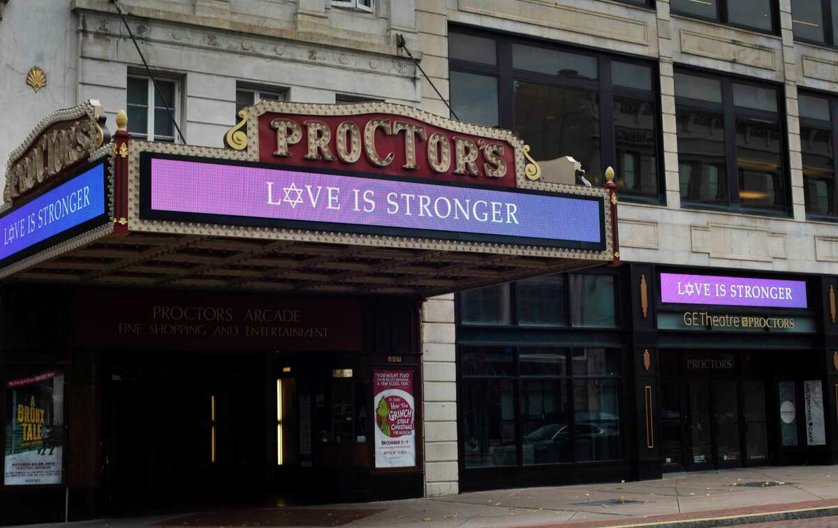 A message of love and support is displayed on the Proctors theater marquee in Schenectady on Wednesday, Oct. 31, 2018. The message comes after an attacker with anti-Semitic views killed 11 people in a synagogue in Pittsburgh. (Michael Eck / Proctors)