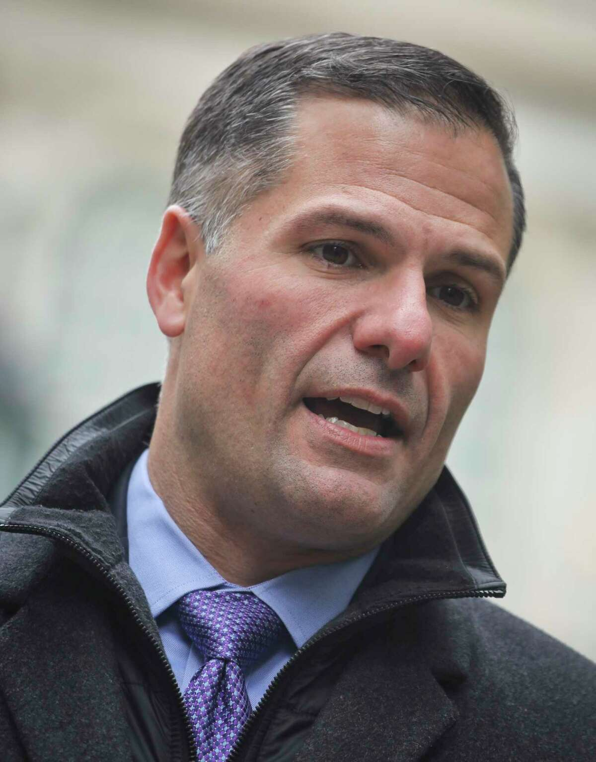 New York Republican gubernatorial candidate Marc Molinaro holds a press conference in City Hall Park, Monday Oct. 22, 2018, in New York. Molinaro will debate Gov. Andrew Cuomo on Tuesday in their only scheduled exchange before next month's election. (AP Photo/Bebeto Matthews)