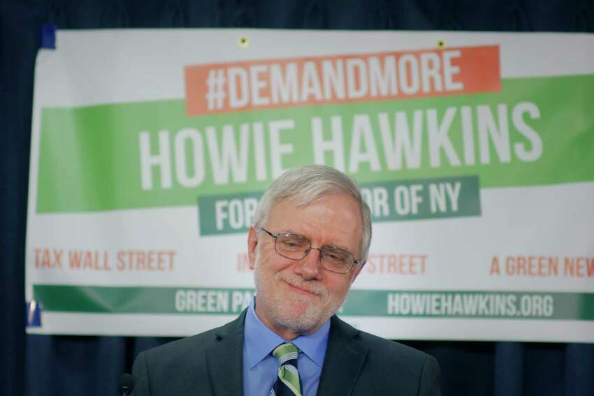 Howie Hawkins holds a press conference to announce that he will run for New York State governor as the Green Party candidate, on Thursday, April 12, 2018, in Albany, N.Y. (Paul Buckowski/Times Union)
