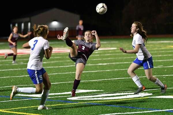 Stillwater's Brooke Pickett, #3, kicks the ball back during the Class C girls' soccer final against Schoharie on Wednesday, Oct. 31, 2018 in Mechanicville, N.Y. (Lori Van Buren/Times Union)