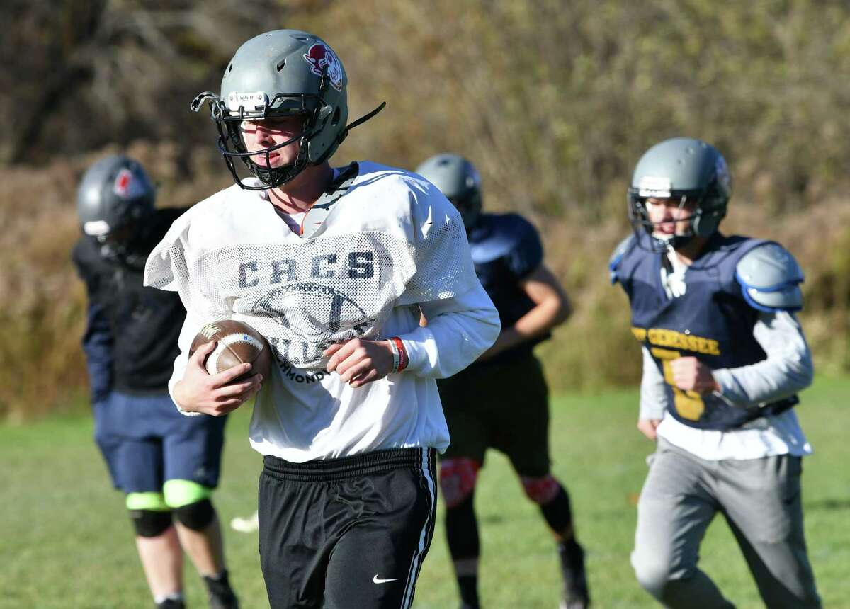 Cobleskill-Richmondville quarterback Donovan Pacatte practices with his team on Tuesday, Oct. 30, 2018 in Cobleskill, N.Y. (Lori Van Buren/Times Union)
