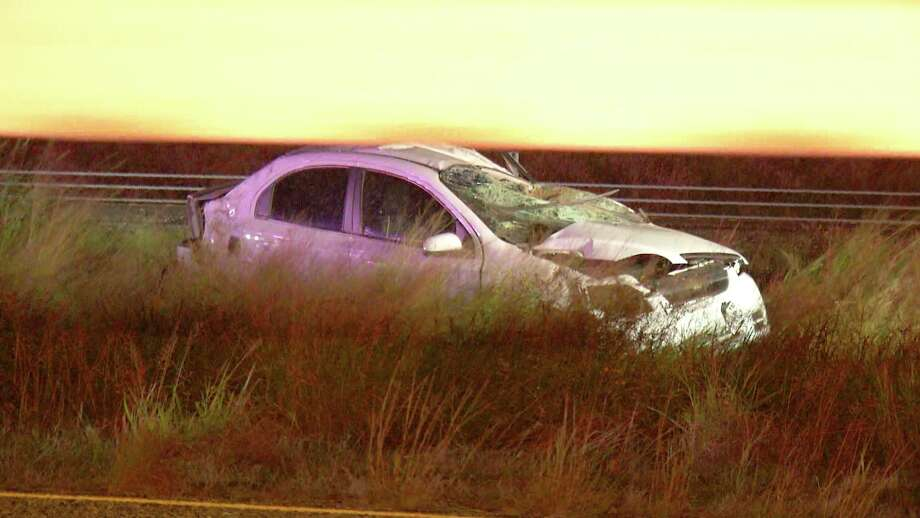 The driver of the vehicle drove off the the 20000 block of Interstate 37 South at about 1 a.m. Nov. 1, 2018, causing the vehicle to rollover, police said. Photo: Ken Branca