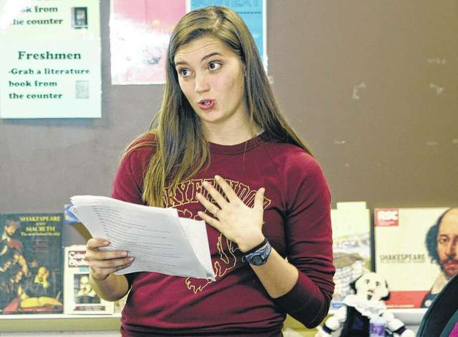 Junior Jenny Smith practices a reading during a speech team meeting Tuesday at Jacksonville High School. Photo: Samantha McDaniel-Ogletree | Journal-Courier