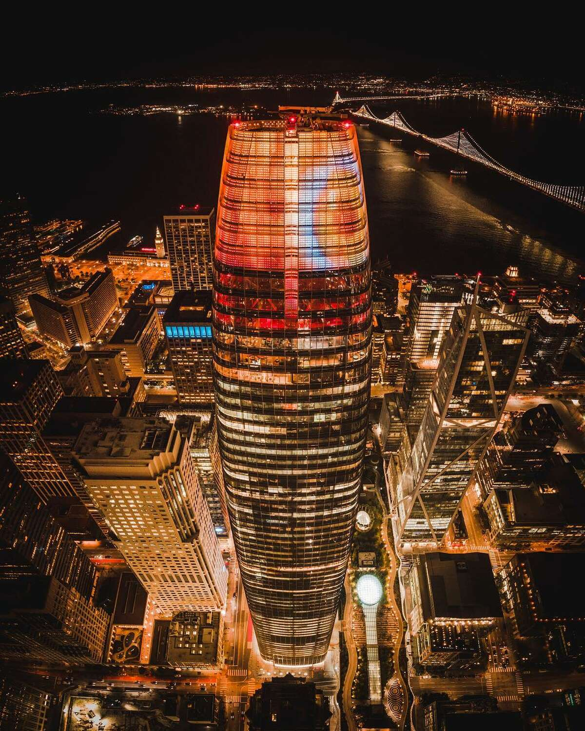 The Firery Eye of Sauron stared down at the San Francisco Bay Area from the top of Salesforce Tower on Halloween night.