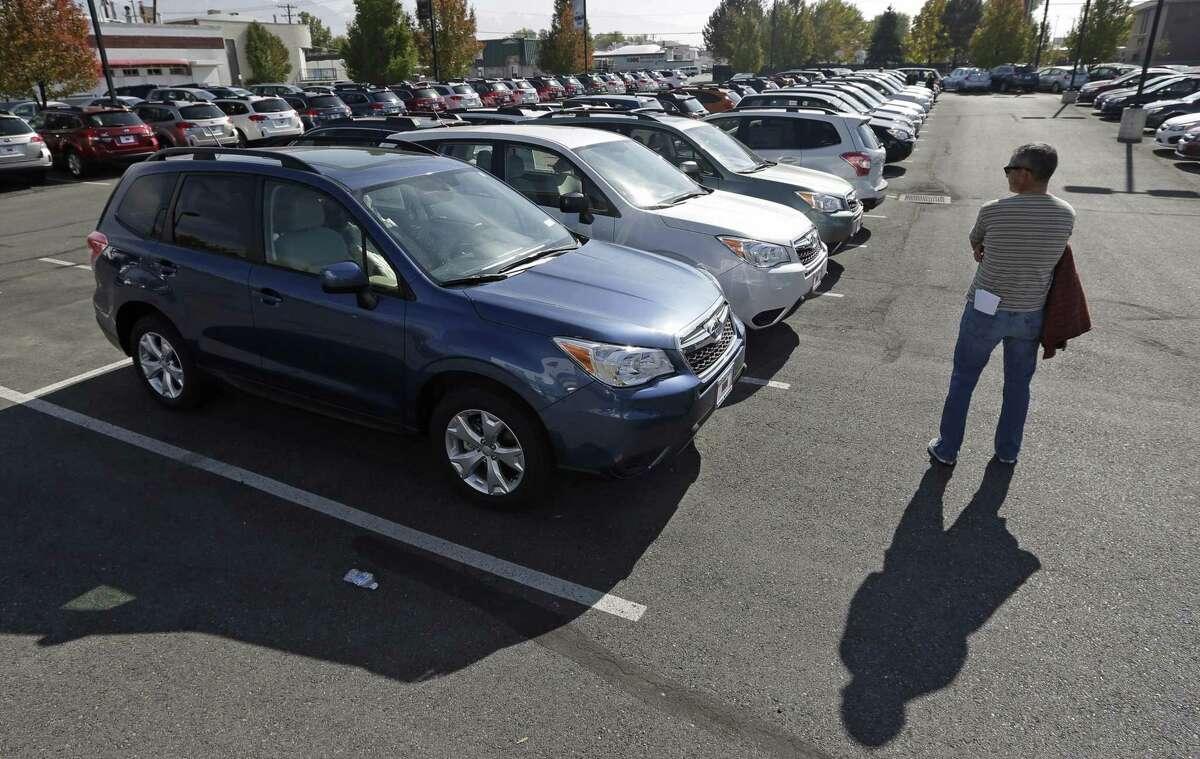 Subaru Foresters in a dealer lot in October 2013 in Salt Lake City. (AP Photo/Rick Bowmer)