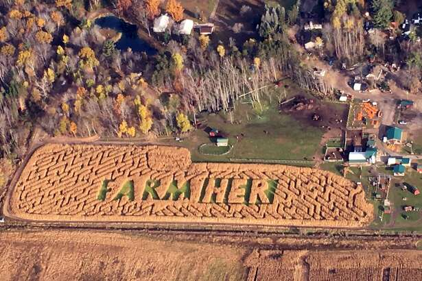 An aerial photo taken Tuesday, Oct. 30 shows the corn maze at Grandma's Pumpkin Patch. (Photo provided/Dot Hornsby)