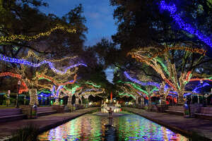 The Houston Zoo's annual Zoo Lights attraction kicks off on Nov. 17 and runs through Jan. 13. According to the zoo nearly 15 miles of LED lights are used to create the holiday scenes.
