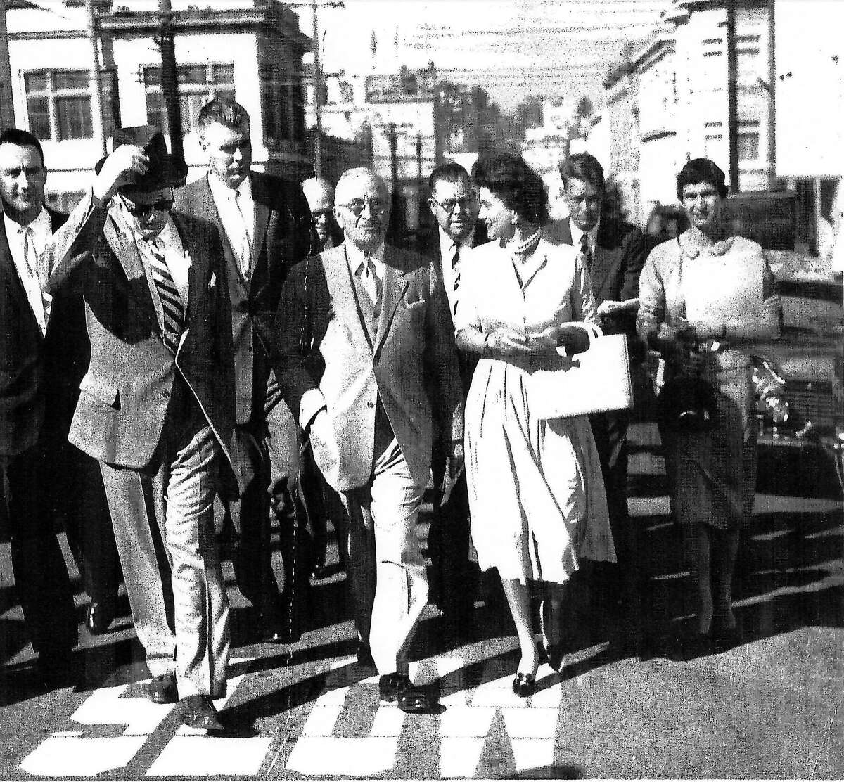 Ann Eliaser walks with President Harry Truman in an undated photo.