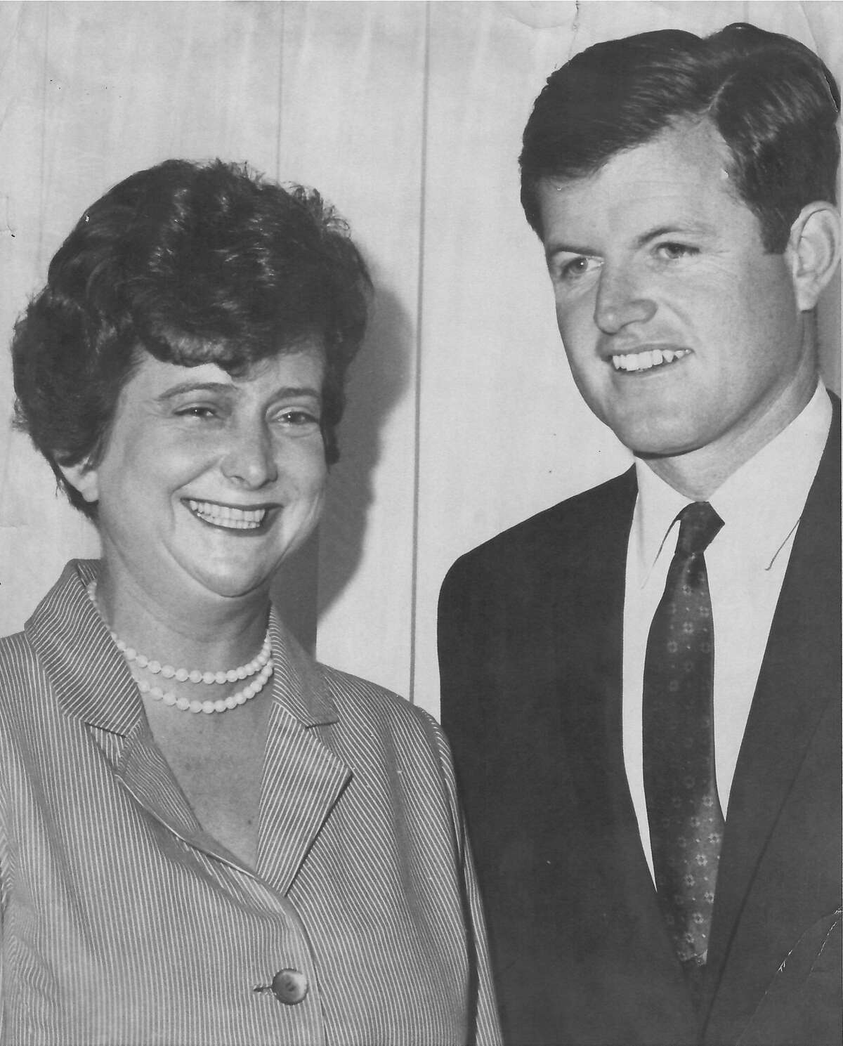 Ann Eliaser, a life-long Democrat supporter, poses with Sen. Ted Kennedy.