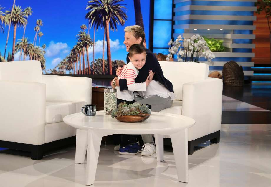 """In this photo released by Warner Bros., talk show host Ellen DeGeneres is seen during a taping of """"The Ellen DeGeneres Show"""" at the Warner Bros. lot in Burbank, Calif. (Photo by Michael Rozman/Warner Bros.) Photo: Michael Rozman/Michael Rozman/Warner Bros."""