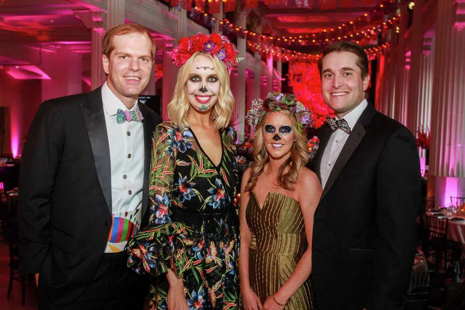 "Chairs John and Caroline Harrell, from left, and Caroline and Andrew Bean at the Children's Museum gala, ""Día de los Muertos"" at The Corinthian. Photo: Gary Fountain, Contributor / © 2018 Gary Fountain"