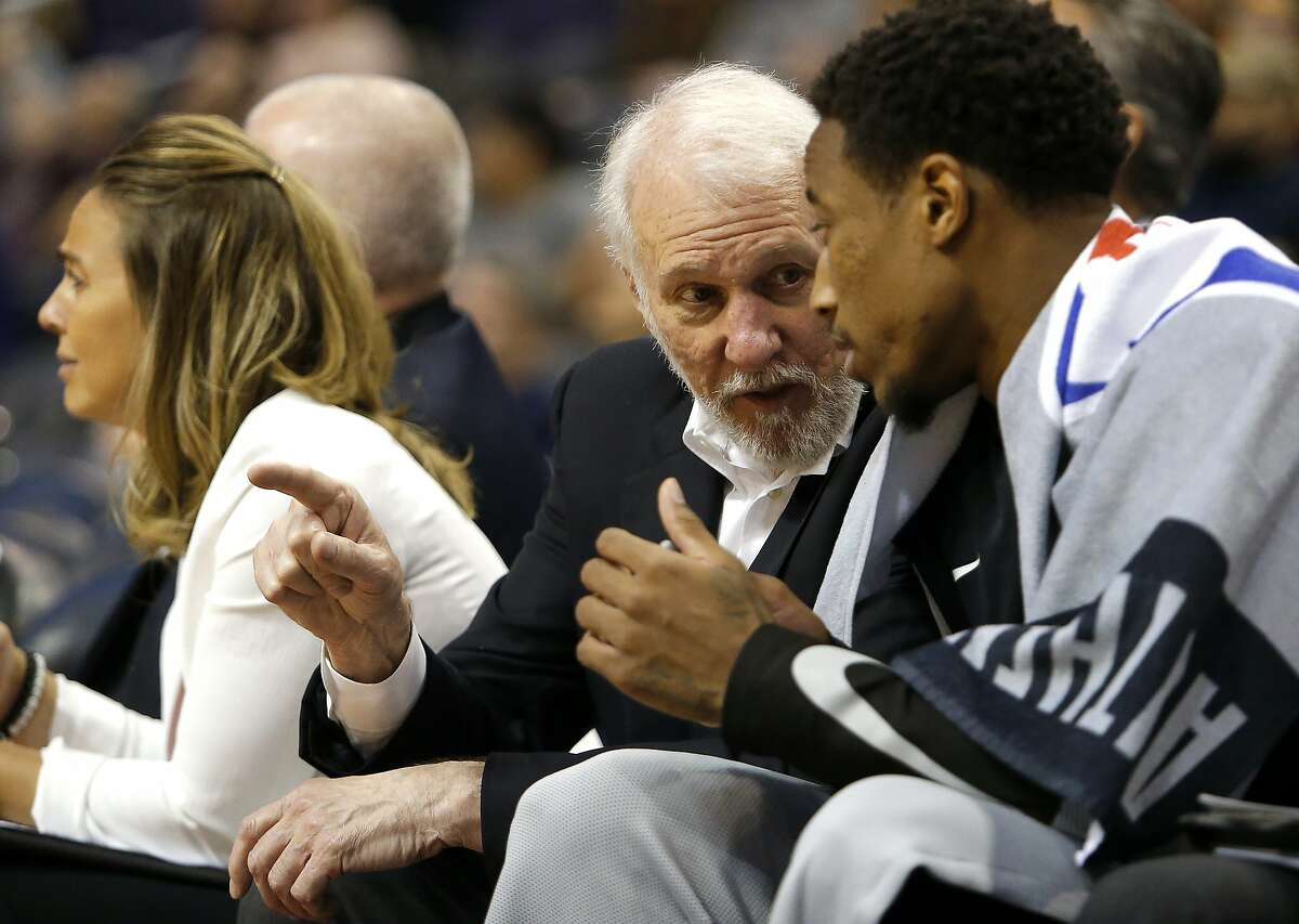 San Antonio Spurs head coach Gregg Popovich in the second half during an NBA basketball game against the Phoenix Suns, Wednesday, Oct. 31, 2018, in Phoenix. The Spurs defeated the Suns 120-90. (AP Photo/Rick Scuteri)