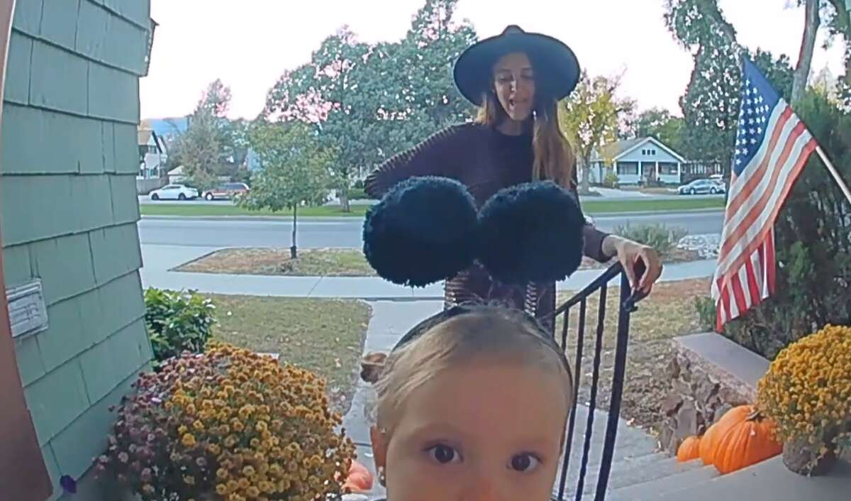 A young butterfly was under a watchful eye on Halloween.