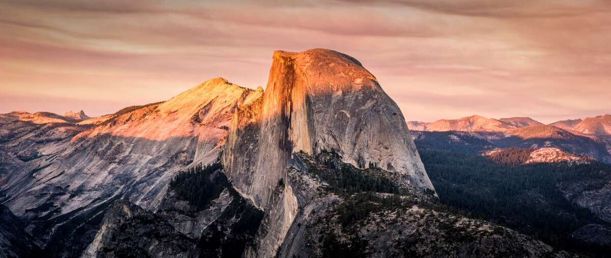 Sunset over the famous Half Dome in Yosemite.