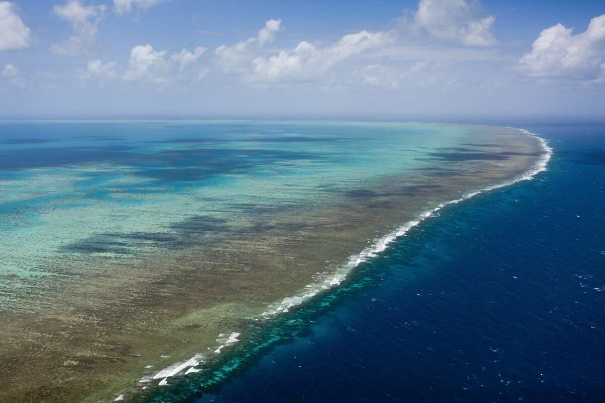 """The Great Barrier Reef murder: Climate change has wiped out half of the reef since 2016; and things are looking bad for this coming summer. The recent study """"Global warming transforms coral reef assemblages"""" adds, direly: """"The 2015-2016 global bleaching event is a watershed for the Great Barrier Reef, and for many other severely affected reefs elsewhere in the Indo-Pacific Ocean. Furthermore, the Great Barrier Reef experienced severe bleaching again in early 2017, causing additional extensive damage. The most likely scenario, therefore, is that coral reefs throughout the tropics will continue to degrade over the current century until climate change stabilizes."""" Photo: Aerial view of the Great Barrier Reef, Queensland, Australia."""