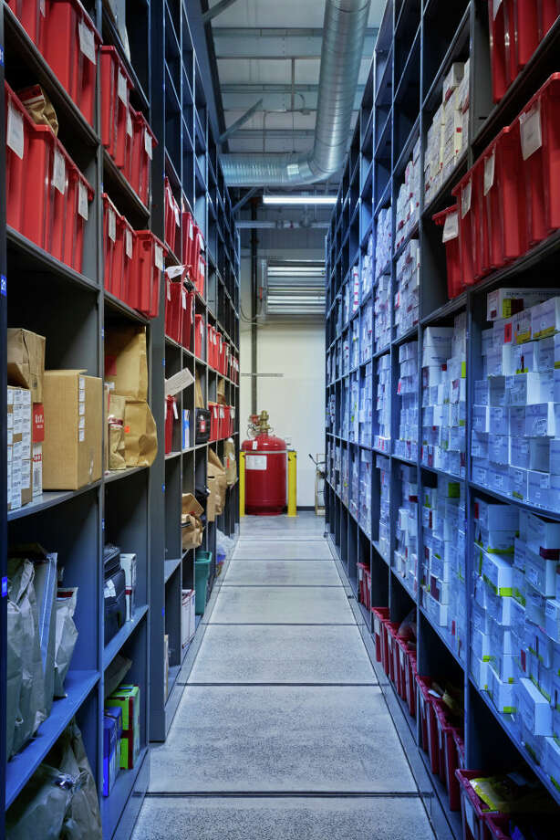 On the right side of this aisle are the boxes the contain the rape kits in the evidence storage building at the Virginia Beach Police Department on Jan. 16. (Photo by Adam Ewing for The Washington Post via Getty Images Magazine) Photo: The Washington Post / Contributor / 2018 The Washington Post