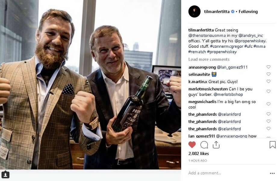During a trip to Houston on Thursday, Conor McGregor met with Tilman Fertitta. Tilman Fertitta and Conor McGregor says cheers to McGregor's whiskey label, Proper No. Twelve. >>> Click through to see more of McGregor and his new whiskey label.  Photo: Tilman Fertitta Instagram