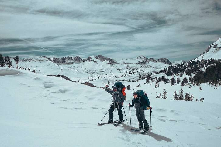 """Snowboarders Jeremy Jones (left) and Elena Hight in the Eastern Sierra during the filming of """"Ode to Muir."""""""