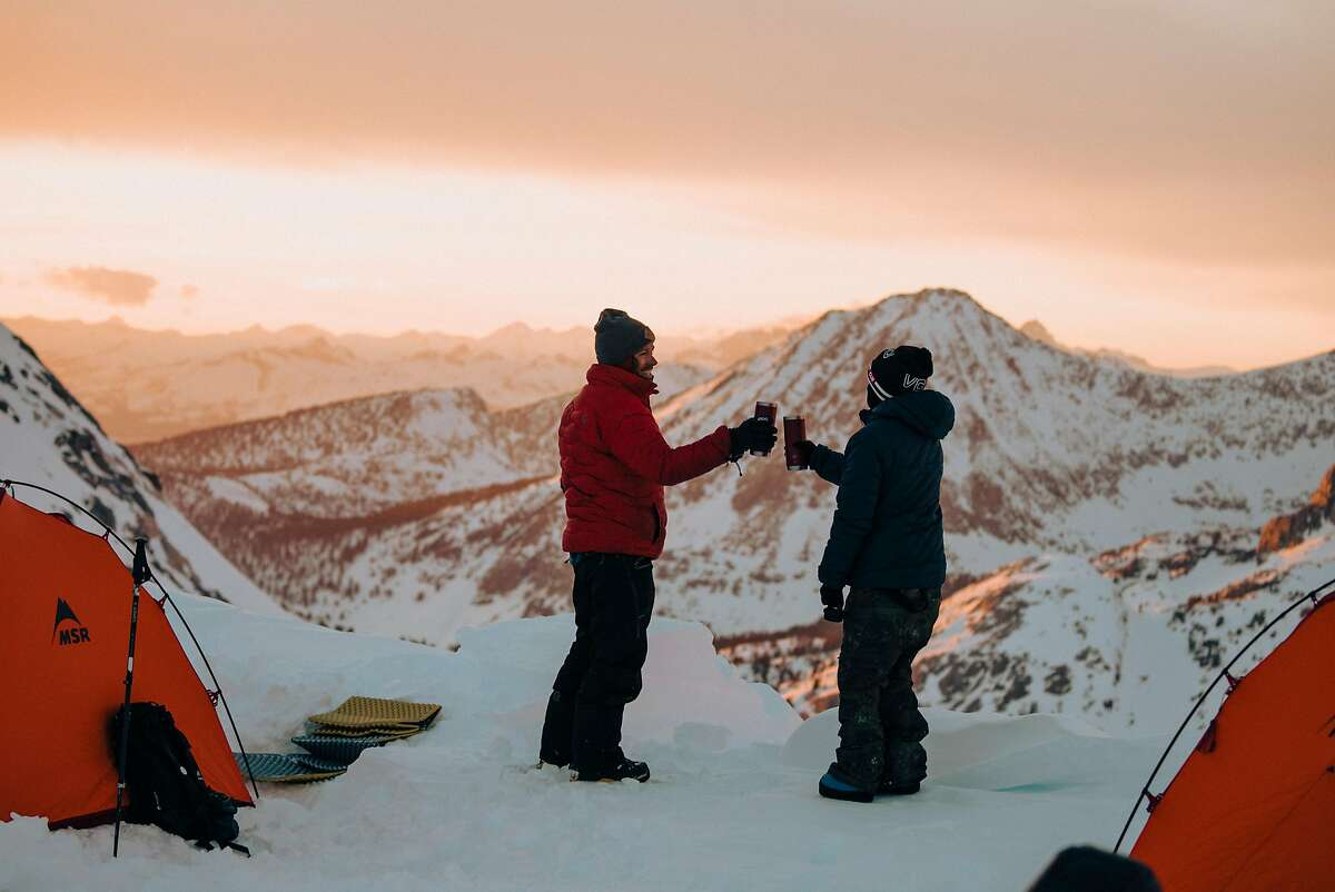 Snowboarders Jeremy Jones (left) and Elena Hight in the Eastern Sierra during the filming of