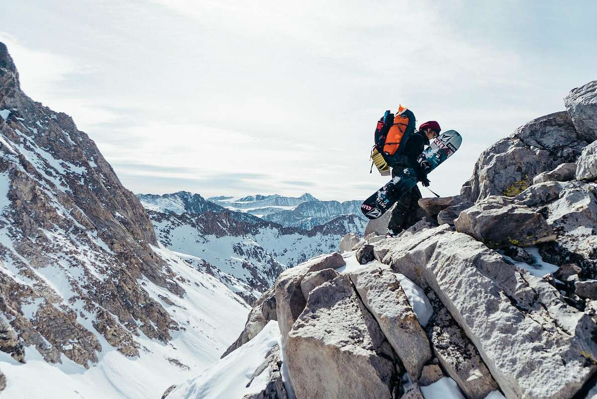 Snowboarder Elena Hight trekking in the Eastern Sierra during the filming of