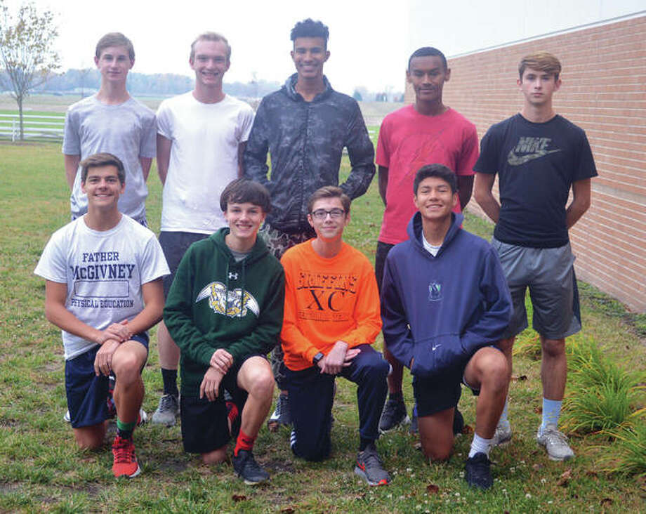 Members of the Father McGivney boys' cross country team include, front row left to right, Andrew Dupy, Tanner Fox, Brandon Ahring and Diego Pacheco. In the back row, from left to right, are Noah Beltremea, Zach Brasel, Elijah Burns, Tyler Guthrie and Clayton Scott. Photo: Scott Marion/Intelligencer