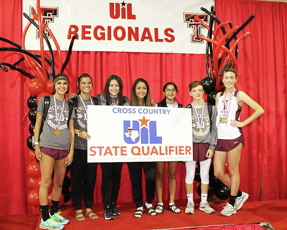 The Tulia Lady Hornets cross country team heading to state include (l-r): Ivy Guerra, Jasmine Aguilar, Britney Martinez, Yami Delgado, Lluvia Briones, Alexis Trammel and Myla Marnell. The Lady Hornets will try to improve last year's runnerup finish at 12:10 p.m. Saturday in Round Rock. Photo: Courtesy Photo