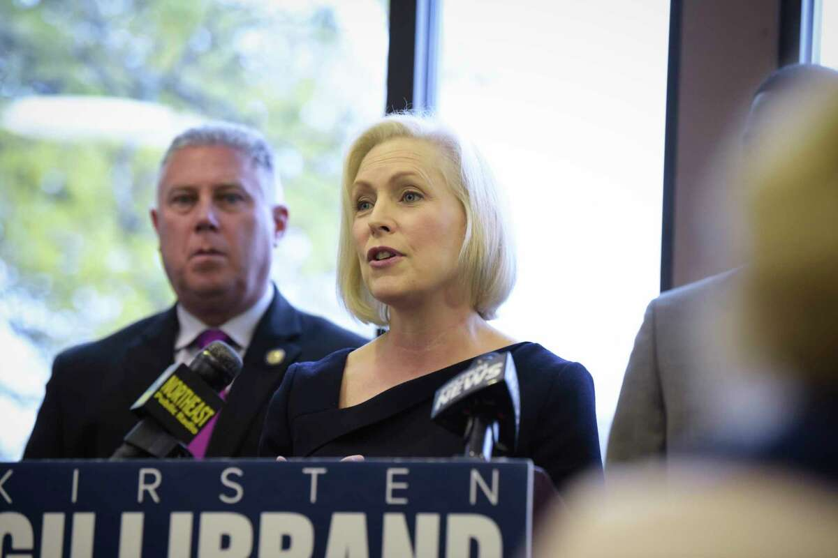 Sen. Kirsten Gillibrand (above) is up 58 percent to Republican Chele Farley's 35 percent, in a race that is 9 points closer than the poll a month ago. (Paul Buckowski/Times Union)