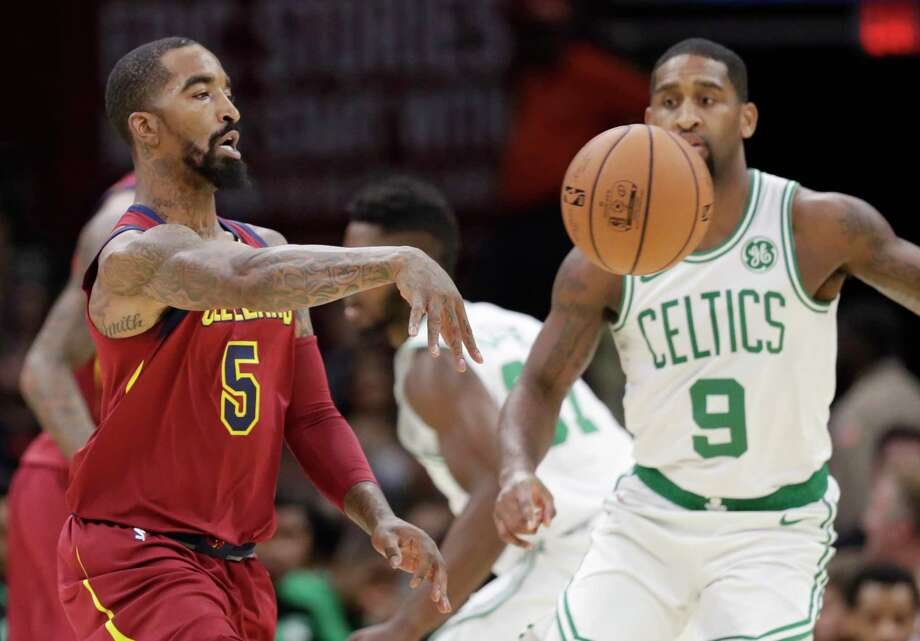 Cleveland Cavaliers' JR Smith (5) passes against Boston Celtics' Brad Wanamaker (9) in the first half of an NBA preseason basketball game, Saturday, Oct. 6, 2018, in Cleveland. (AP Photo/Tony Dejak) Photo: Tony Dejak, Associated Press / Copyright 2018 The Associated Press. All rights reserved.