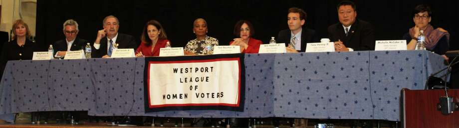 The League of Women Voters of Westport hosted a debate among candidates for state senate and house representatives on Oct. 29 in Westport Town Hall. Photo: Sophie Vaughan / Hearst Connecticut Media / Westport News