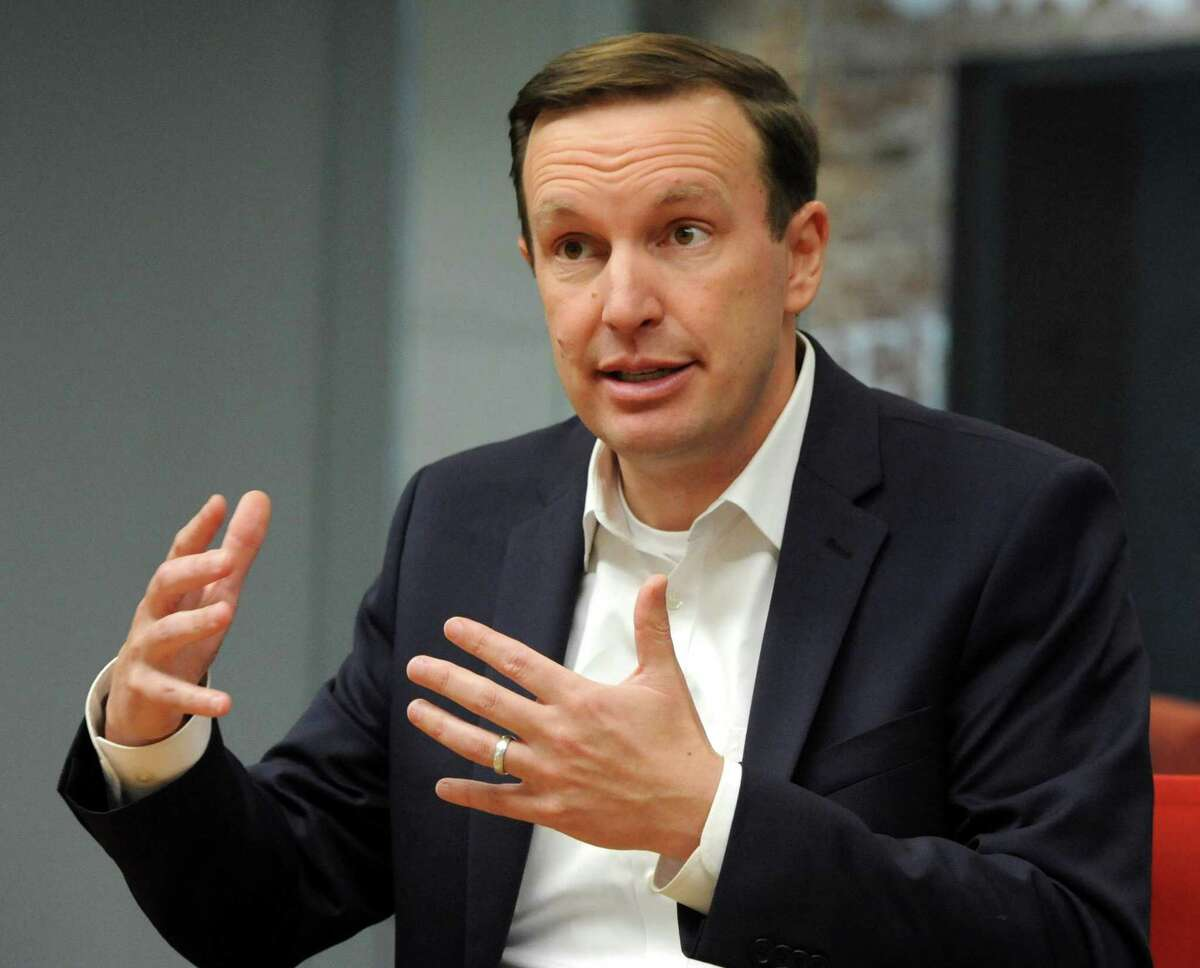 U.S. Senator Chris Murphy, D-Conn., meets with the Hearst Connecticut Group Editorial Board in Norwalk recently.